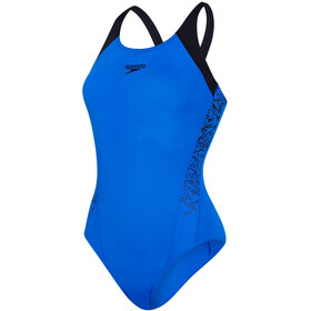 speedo Boom Splice Muscleback Swimsuit Women Beautiful Blue/Black